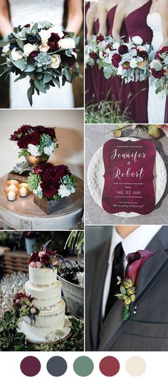 Classic Burgundy,Dark Grey and Dusty Miller Wedding Colors