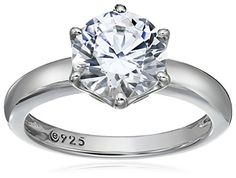 Platinum-Plated Sterling Silver Swarovski Zirconia 2 cttw Round Solitaire Ring  Size 5.More info for beautiful gold rings;unique rings;gold finger rings designs for female;diamond wedding rings for her;jewelry rings could be found at the image url.(This is an Amazon affiliate link and I receive a commission for the sales)