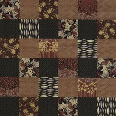 The basket-weave pattern draws attention to the contrast between the black and rust prints in this quilt.    Fairmount Park collection by Lonni Rossi; @rachel wins Fabrics