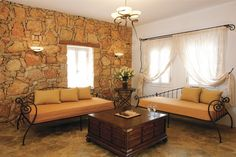 Folegandros - Chora Resort Hotel & Spa Spa Hotel, Hotels And Resorts, Lounge, Couch, Curtains, Bed, Table, Furniture, Home Decor