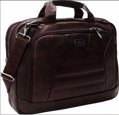 "geanta / servieta zilei: brand USA: OGIO, piele naturala COLUMBIANA, 43x32x10cm, maro, suport laptop 17"", compartimentare ok, pasaj troler, ..."