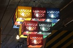 Would you ever turn milk crates into a chandelier?