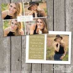 Senior Announcement Template Graduaton Card - High School Senior Graduation Photo Invitation Card - College Grad Photoshop Template