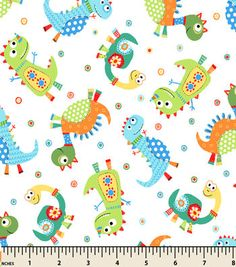 Snuggle Flannel Fabric-Dino Family Tossed Cream