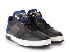 Salvatore Ferragamo men's high sneakers in black Leather - Italian Boutique €378