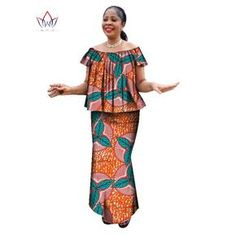 Ankara Skirt and O neck Blouse traditional Clothes plus size Dress
