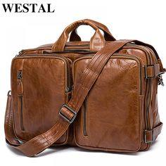WESTAL Men's Briefcase Tote men messenger bag travel laptop bag for men document business Leather briefcase male Genuine leather Brown Leather Messenger Bag, Black Leather Briefcase, Leather Laptop Bag, Briefcase For Men, Messenger Bag Men, Leather Men, Laptop Bags, Leather Bags, Laptop Backpack