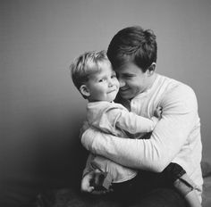 Black and white studio family session - father and son