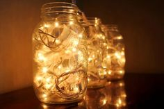 DIY Christmas Mason Jar Lighting Crafts [Instructions]:different ways to make mason jar lights for mantel, dinning table and wall holiday decoration. Christmas Mason Jars, Mason Jar Diy, Mason Jar Lamp, Fairy Lights On Wall, Fairy Light Curtain, Easy Christmas Decorations, Christmas Lights, Light Decorations, Simple Christmas