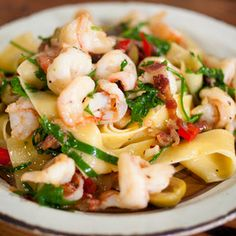 Papperdelle with Olives, Pancetta and Prawns @keyingredient
