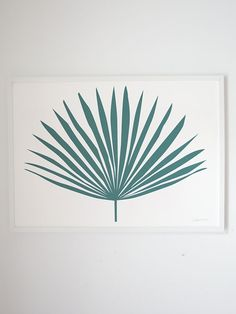 Image of Teal Green Palm Leaf Print