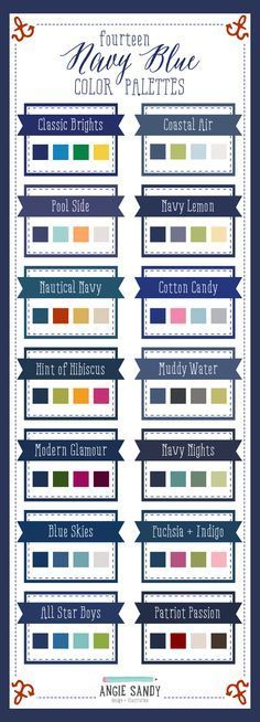 14 Navy Blue Color Palettes by Angie Sandy Design Blue Colour Palette, Navy Blue Color, Colour Schemes, Color Combos, Colour Palettes, Color Pallets, Color Theory, Color Inspiration, Web Design