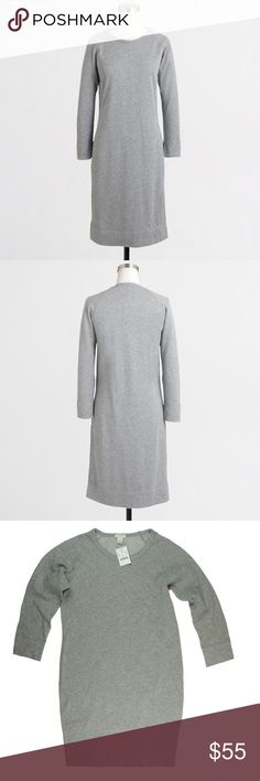 """New JCrew Gray Cotton 3/4 Sleeve Sweatshirt Dress This new gray sweatshirt dress from JCrew features a crew neckline, 3/4 length sleeves, pullover style and relaxed fit. Made of 100% cotton. Measures: Bust: 24"""", Total length: 35"""", sleeves: 19"""" J. Crew Dresses"""