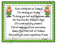 Leprechaun Kisses Treat Bag Poem