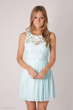 tea party lace bodice cocktail- mint