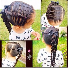 Hair style for little girls. I could never do that little weaving thing on top but the back looks super cute and easy enough