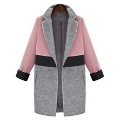 Pretty Color-Block Dual Pocket Long Sleeve Car Length Winter Coat 2 Colors S-XL