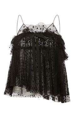 Rochas black layered plumetis tulle sleeveless top