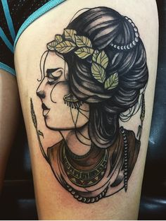 Grecian goddess neo traditional portrait tattoo by @lannigantattoos (Kyrsta Lannigan at Hot Rod Bettie's Tattoo in Salem, OR)