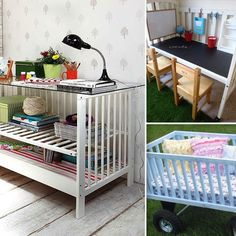 Repurposed baby cot - who knew there were so many ways to repurpose a cot. They are amazing!