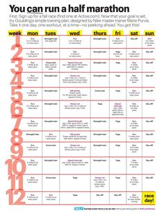 12 week half marathon training schedule - to be ready by Nov. for Fay half marathon Half Marathon Training Schedule, Training For A 10k, Race Training, Training Equipment, 5k Training Plan, Weight Training, Weight Lifting, Marathon Preparation, Cross Training For Runners