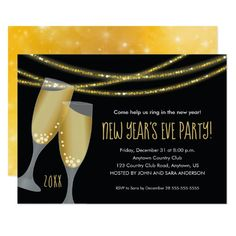 champagne glitter strings new years eve party invitation