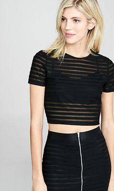 sheer stripe cropped tee