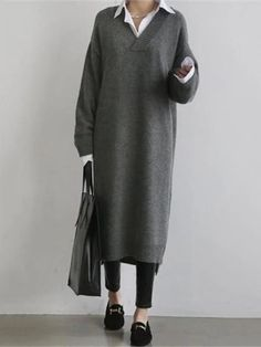 Fashion Simple Loose Long Sleeves Knitted Sweater Shown Thin Maxi Dres – lovejewelryacc pretty dress dress and skirt outfits maxi maxi outfits Black Women Fashion, Look Fashion, Korean Fashion, Cheap Fashion, Affordable Fashion, Unique Fashion, Autumn Fashion, Knit Sweater Dress, Loose Sweater