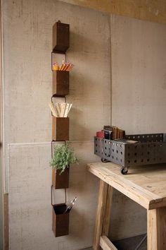 rustic iron rain chain planter | vintage inspired storage | rustic storage solution |