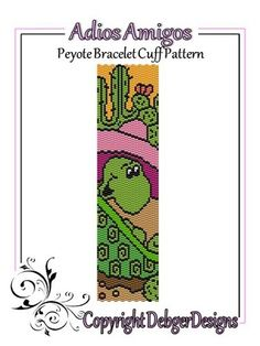 Adios Amigos - Beaded Peyote Bracelet Cuff Pattern   DebgerDesigns - Patterns on ArtFire