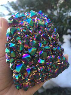 Rainbow Aura Amethyst Cluster, Amethyst cluster, flame aura amethyst, amethyst aura, angel aura Quartz, aura Quartz, crystals, specimen