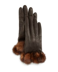 Napa Leather Gloves w/Mink Fur Trim, Size: 8.5, Gray/Brown - Gepa Gloves for Neiman Marcus