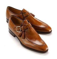 Handmade tan leather shoes, single monk strap shoe, leather shoes for men, dress #Handmade #Oxfords #Casual