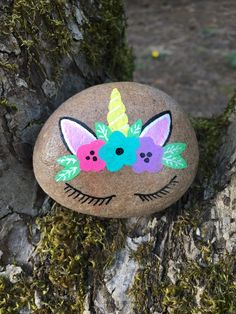 Unicorn flower crown painted rock