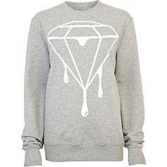 Grey dripping diamond print sweatshirt - sweaters / hoodies - t shirts / vests / sweats - women T Shirt Vest, Sweater Hoodie, Crew Neck Sweatshirt, Graphic Sweatshirt, Sweat Shirt, Printed Sweatshirts, Hoodies, River Island Fashion, Cool Sweaters