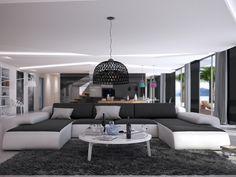 Canapé panoramique 7 places en simili SICILE - Bicolore blanc et anthracite
