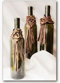 Using bronze Powertex on an assortment of t-shirts, lace doilies, burlap and cord, Ava created these wonderful wine bottle cuffs. Wine Bottle Art, Painted Wine Bottles, Potion Bottle, Diy Bottle, Bottle Vase, Wine Bottle Crafts, Bottles And Jars, Glass Bottles, Decorated Bottles