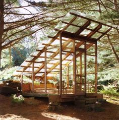A sleeping cabin in the woods designed by Tim Prentice, discovered via Even Cleveland.