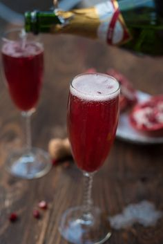Champagne and pomegranate juice make the perfect easy drink recipe! Great for Mothers Day, baby showers and parties too!