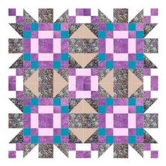 The four five star quilt pattern uses four star blocks which combine to form a fifth star. A simple but striking design using two pairs of colours and white