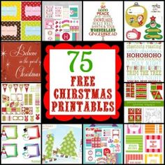 75 FREE Christmas printables at AliLilyBlog.com Printable decor, cupcake toppers, party supplies, cards, stationary, shipping labels and more!!