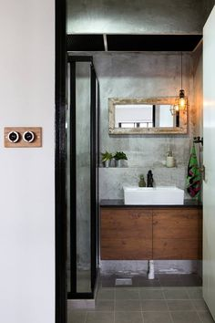 An Industrial and Eclectic Look for a HDB Flat by Green And Lush Cement Walls, Renovation Budget, Eclectic Bathroom, Kitchen Utilities, Toilet Design, Industrial Chic, New Room, Room Inspiration, Beautiful Homes