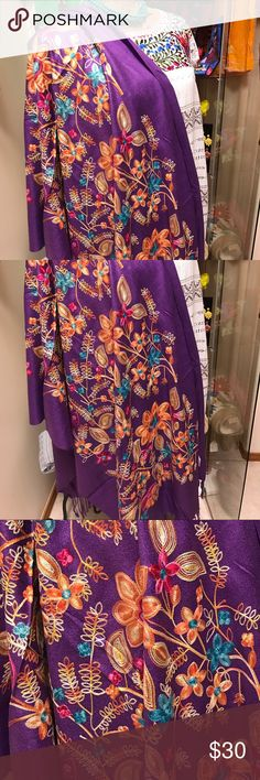 New Embroidered Shawl Purple Colorful New super soft fabric, floral embroidery very colorful and beautiful! Can be used as a scarf or wrap too. Cielito Lindo  Accessories Scarves & Wraps