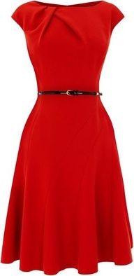 Every girl should have a simple red dress like this...can be dressed up and down.