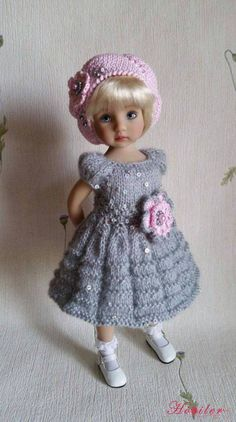 """Outfit """"Grey&Pink"""" for dolls Dianna Effner Little Darling. Crochet Doll Clothes, Knitted Dolls, Girl Doll Clothes, Doll Clothes Patterns, Crochet Dolls, Girl Dolls, Baby Dolls, American Girl Outfits, American Doll Clothes"""