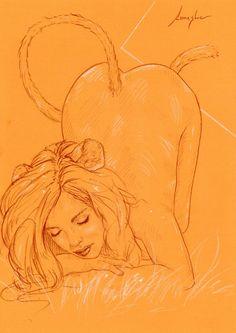 Alice im Wunderland #2012 Lanestre - Aktzeichnug Erotik Zeichnung Frauenakt Akt