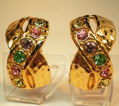 Vintage Earrings Big X Bright Gold Sparkling by BagsnBling on Etsy, $9.99