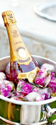 Champagne & rose ice cubes