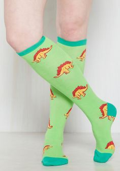 Leggo My Stego Socks - Green, Yellow, Print with Animals, Print, Casual…