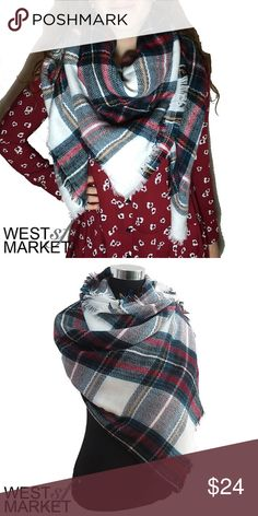"""-BACK SOON- 🎉 Plaid Blanket Scarf Plaid blanket scarf with cashmere & acrylic. Exceptionally soft fabric! 55x55 inches. We cannot accept discounted offers on items marked """"Boutique""""! West Market SF Accessories Scarves & Wraps"""